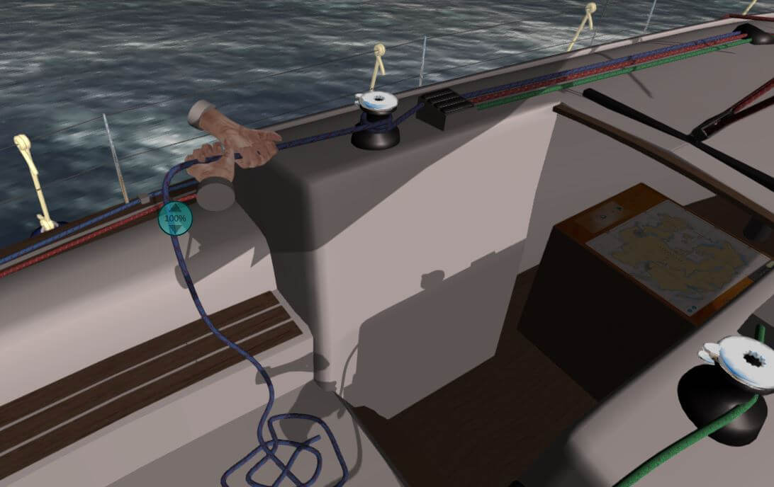 Sailing simulator ropes